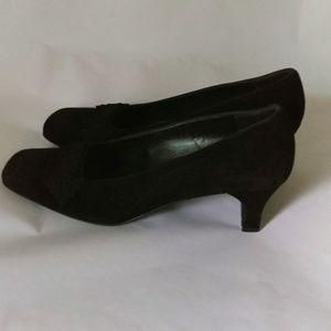 Salvatore Ferragamo Black Suede Sz 8 Chunky Heels